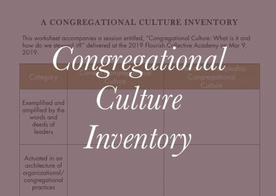 A Congregational Culture Inventory