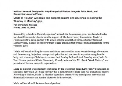 Made to Flourish Press Release