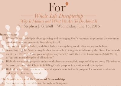 For* 2016 – Whole-Life Discipleship, by Stephen Grabill