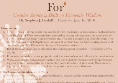 For* 2016 – Creative Service is Built on Economic Wisdom, by Stephen Grabill