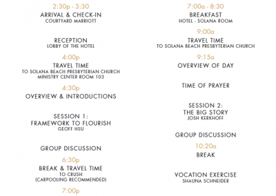 Retreat 1 Schedule