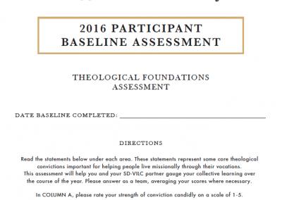 2016 Participant Baseline Assessment