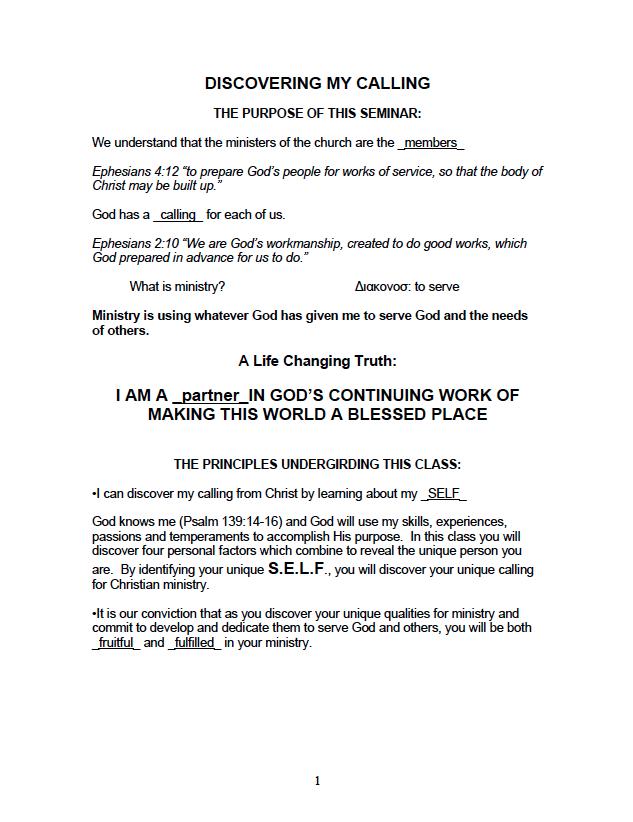 Discovering My Calling Seminar – First Presbyterian Oceanside