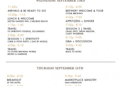 Retreat 4 Schedule