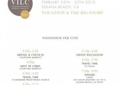 Schedule Retreat One – San Diego